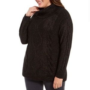 Charter club sparkle cowl-neck cable-knit sweater!